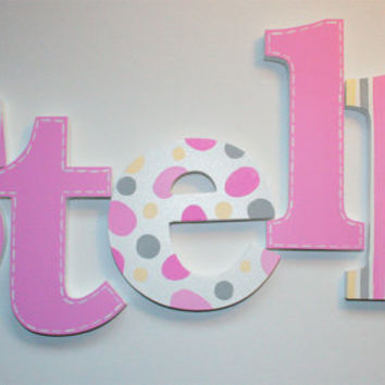 Pink Stripes, Polka Dots and Stitched Wooden Wall Name Letters / Hangings Hand Painted for Girls Rooms, Play Rooms and Nursery Rooms