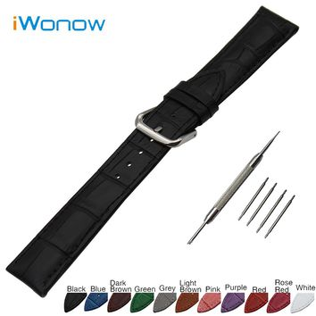 Croco Genuine Leather Watch Band 18mm 19mm 20mm 21mm 22mm 24mm for Fossil Stainless Steel Buckle Strap Wrist Belt Bracelet