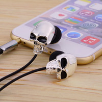 Skull Heads 3.5mm Port Earphones Earbuds Headset For MP3 for iPhone for iPad