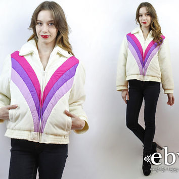 1970s Ski Coat 70s Ski Coat Vintage 70s Pink + Purple Poofy Ski Jacket L Chevron Coat Chevron Jacket Poofy Coat 70s Ski Jacket White Coat