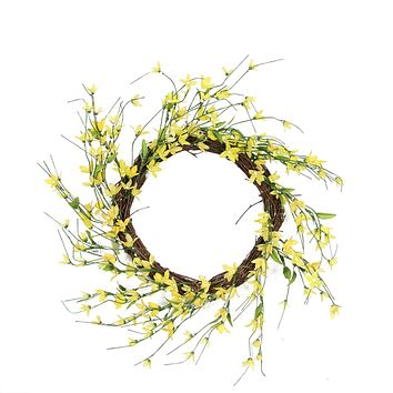 Forsythia Twig Spring Floral Wreath Yellow 12-Inch