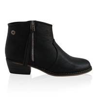 """Dorado"" Zip Up Low Heel Ankle Booties - Black"