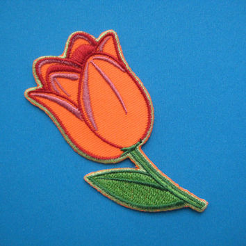 SALE~ Iron-On embroidered Patch Tulip (orange or red) 3.1 inch