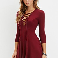 Lace-Up Skater Dress