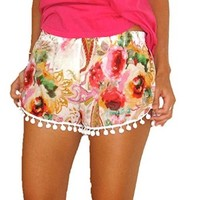 Women's High Waist Tassel Tribal Beach Casual Mini Shorts Pants