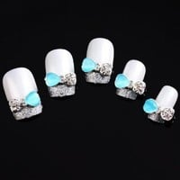 Vip Beauty Shop Blue Jewel Bow Tie 10 Pieces Silver 3d Alloy Nail Art Slices Glitters DIY Decorations