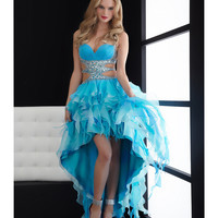 Jasz Couture 2013 Prom - Turquoise Two-Toned Ruffled High Low Gown - Unique Vintage - Cocktail, Pinup, Holiday & Prom Dresses.