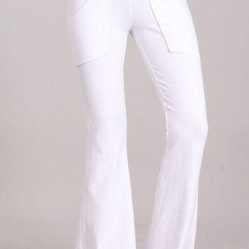 Chatoyant Mineral Washed French Terry Pocket Pants White