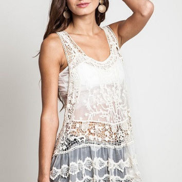 ZOEY Sheer Lace Racerback Tank Top