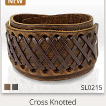Cross Knots Brown Leather Bracelet