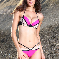 Pink and Cream Push Up Color Block Bikini