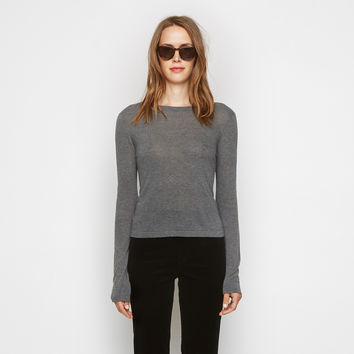 Cashmere Jersey Cropped Crewneck - Grey