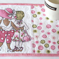 Quilted Pink Mug Rug - Snack Mat - Table Mat - Breast Cancer Awareness