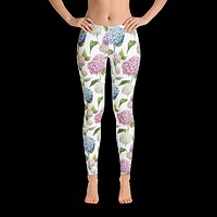Womens Pink N Blue Floral Leggings