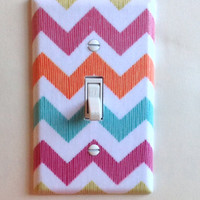 Summer Chevron Stripes Single Toggle Switchplate, Switch plate