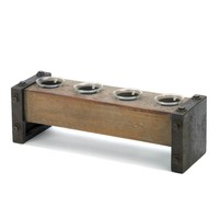 Industrial Wooden Candle Holder