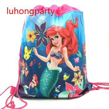 12pcs 34*27cm Little Mermaid cartoon non-woven fabrics drawstring backpack,schoolbag,shopping Gift travel bag