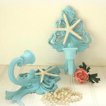 Beach Decor Candle Sconces 2 pc Aqua Blue w natural Starfish candle holders wall mounted hangings Coastal Cottage Homco