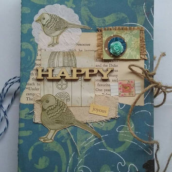 Happy bird mixed paper junk journal. Smash book. Art journal. Price includes USA shipping.