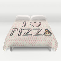 I Love Pizza Duvet Cover by Tangerine-Tane