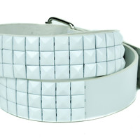 All White 3 Row Pyramid Stud Belt Genuine Leather