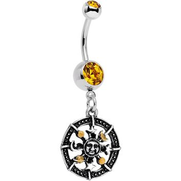 Orange Gem Moonspun Moon Sun and Stars Dangle Belly Ring