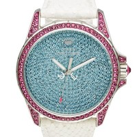 Juicy Couture 'Stella' Pave Crystal Leather Strap Watch, 40mm