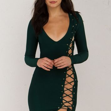 Lace Up Detail Bandage Dress in Hunter Green