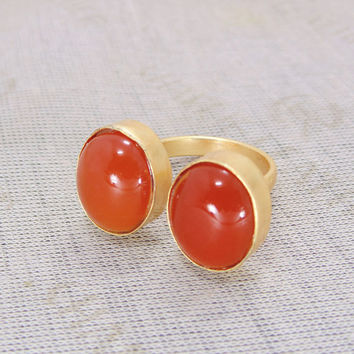 Red Onyx Ring - Handcrafted Ring - Gold Vermeil Ring - Adjustable Ring Size - Metalsmith Ring  - Girlfriend Ring - Gold Over Brass Ring