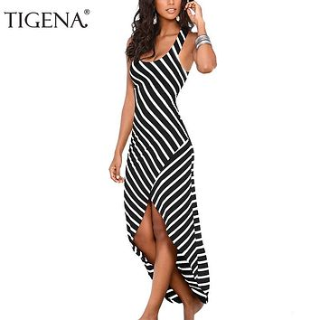 TIGENA Women Summer Dress 2018 Summer Sundress Female Striped Long Maxi Dress Tunic Boho Beach Dress Robe Femme vestidos