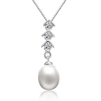 Sterling Silver Pear Drop Freshwater Cultured Pearl and CZ Pendant Necklace