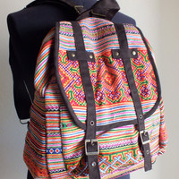 Backpack, Hmong Ethnic handmade bag vintage fabric-Handbags-thailand-backpack-rucksack