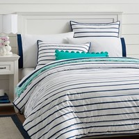 Market Stripe Comforter + Sham, Royal Navy