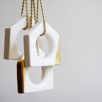 Set of three geometric ornaments, gold and white ceramics christmas ornamets, holiday decor