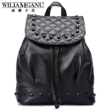 WILIAMGANU New Fashion Backpack Ledies PU Leather Backpacks Women Personality rivets Travel bag School Bag for Girls 0739