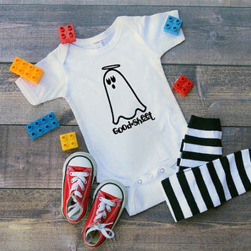 Good sheet infant bodysuit, Halloween, ghost, good stuff, holiday pun, pun, halloween costume, joke, funny infant shirt, comedy bodysuit