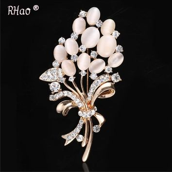 Elegant Women 2016 Crystal Brooch pins Vintage  Opal Flower brooches for women wedding party broches mujer hijab pins