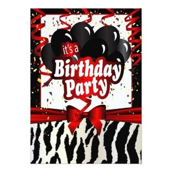 It's A Birthday Party - Zebra | DIY Text 5x7 Paper Invitation Card