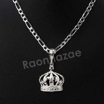 Italian .925 Sterling Silver KING CROWN Pendant 5mm Figaro Necklace S04