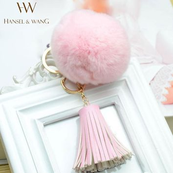 Hot Pompom Keychain Fur Pom Pom Keychain Key Holder Faux Rabbit Fur Keychains Key Ring Leather Key Chain Chaveiro Llaveros KC07