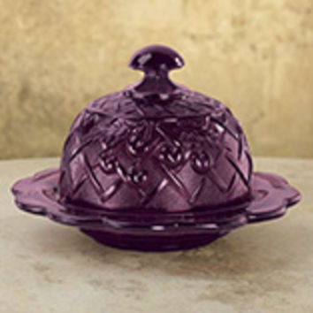 Amethyst Depression Style Glass Domed Butter Dish