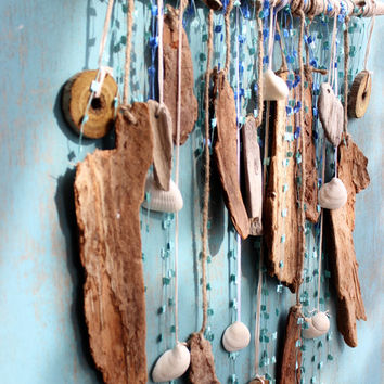 Bohemian Beach Driftwood Art Wall Hanging , Beach Room Decor