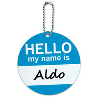Aldo Hello My Name Is Round ID Card Luggage Tag