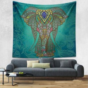 LMF9GW Elephant Bohemian Tapestry Colored Printed Decorative Mandala Tapestry Indian 130cmx150cm Boho Wall Carpet