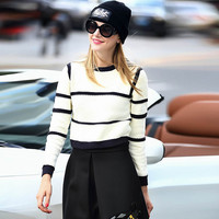 Color Block Striped Round Neck Ribbed Knitted Sweater