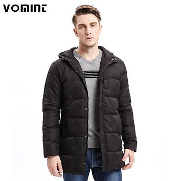 Men Down Coat Heavy-weight Zipper Button Hoodie Warm Long Jackets Solid Color