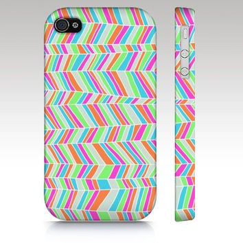 iPhone 4s case, iPhone 4 case, iPhone 5 case, colorful chevron, geometric doodle, abstract  art for your phone