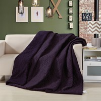 DaDa Bedding Eggplant Aubergine Reversible Quilted Ultra Sonic Throw Blanket Bedspread (BJ0106)