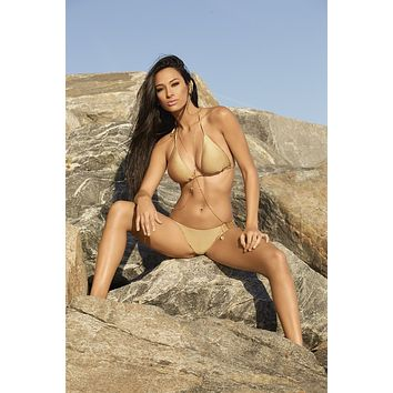Notorious Swimwear Gold Chains Of Love Triangle Top & Cheeky Scrunch Bottom Swimsuit Bikini Set