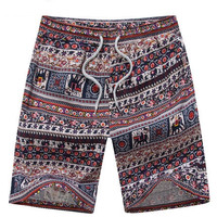 Tribal Print Swim Trunks